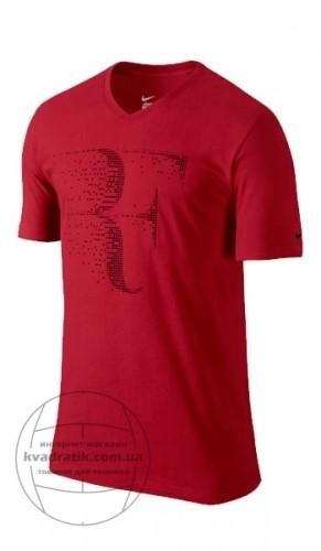 07c3b272 Теннисная футболка Nike RF V-Nech Tee Red Выгодно в KVADRATIK